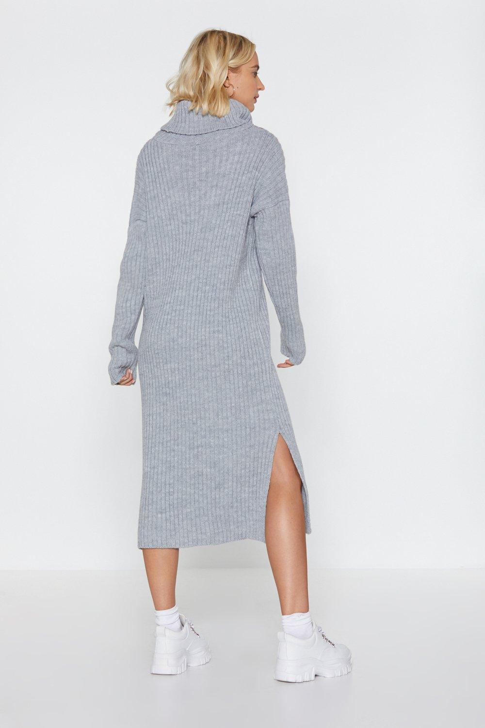 729d46f897c Womens Grey marl Let s Get Things Rolling Turtleneck Sweater Dress