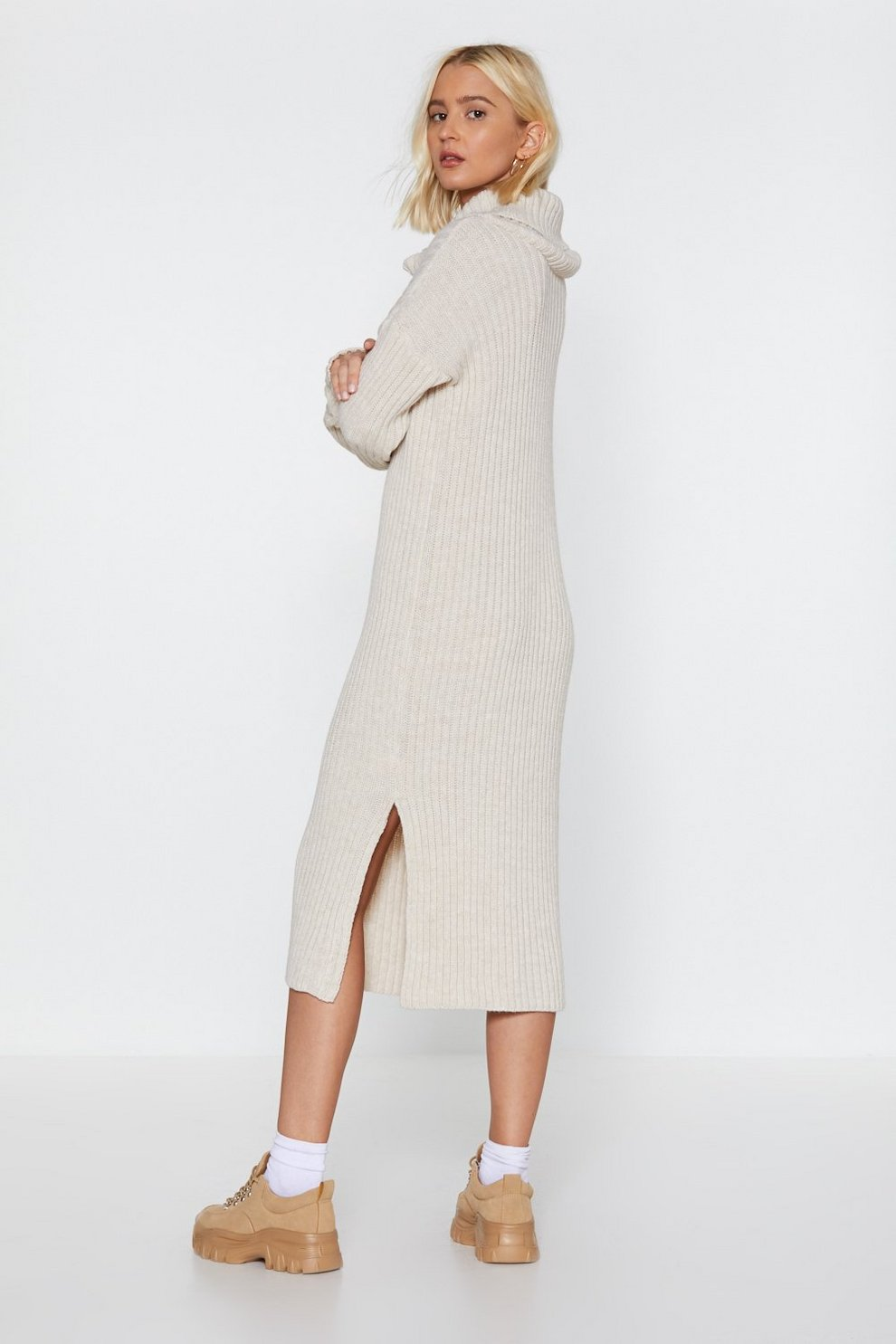 61a649dde00 Womens Stone Let s Get Things Rolling Turtleneck Sweater Dress