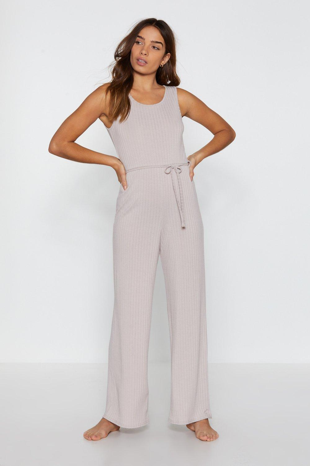 b5f3f4853be2 Womens Stone That Tie of Day Ribbed Wide-Leg Lounge Jumpsuit. Hover to zoom