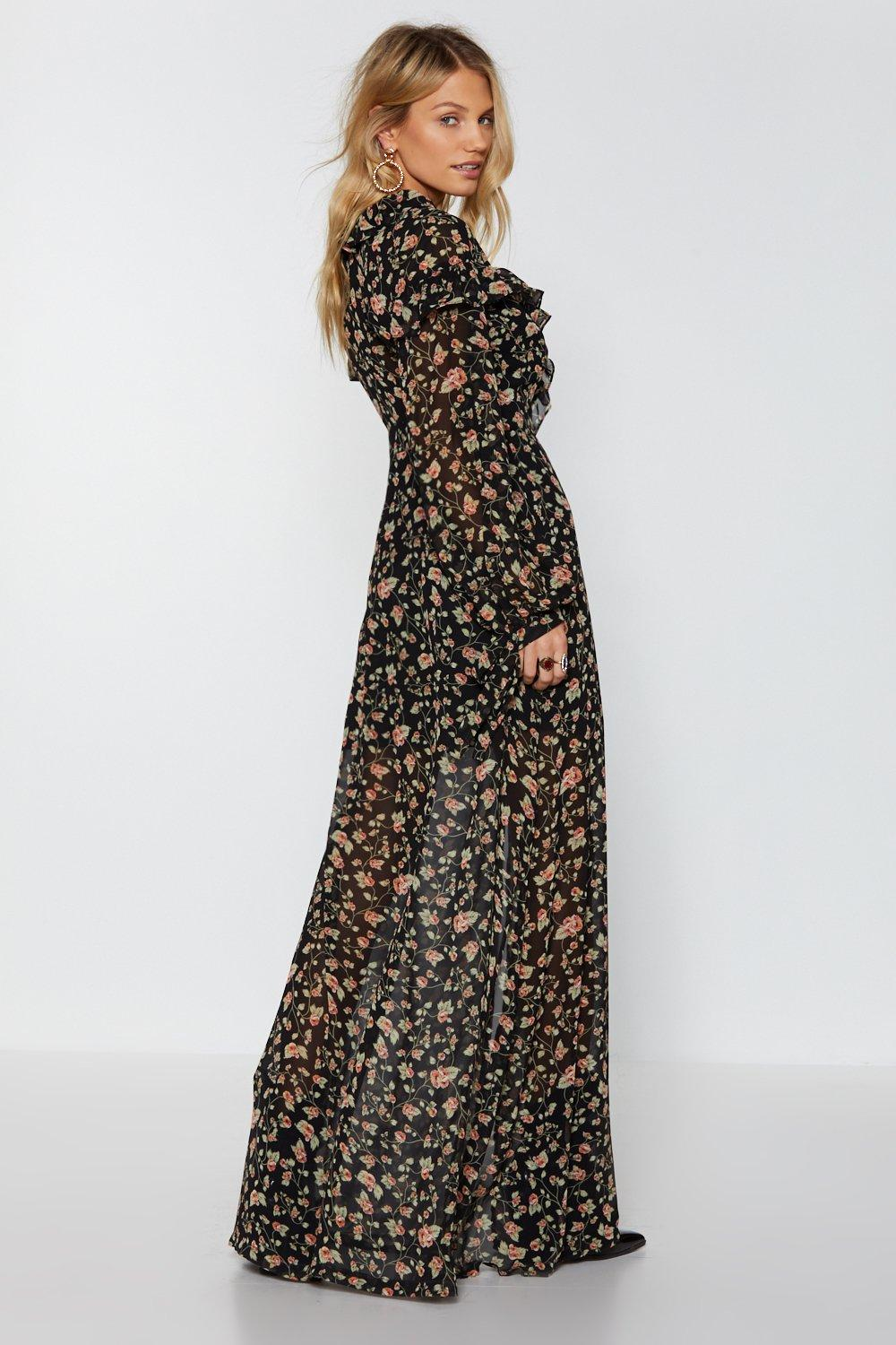 9e9f5433f60 Womens Black Rooting For You Floral Maxi Dress. Hover to zoom
