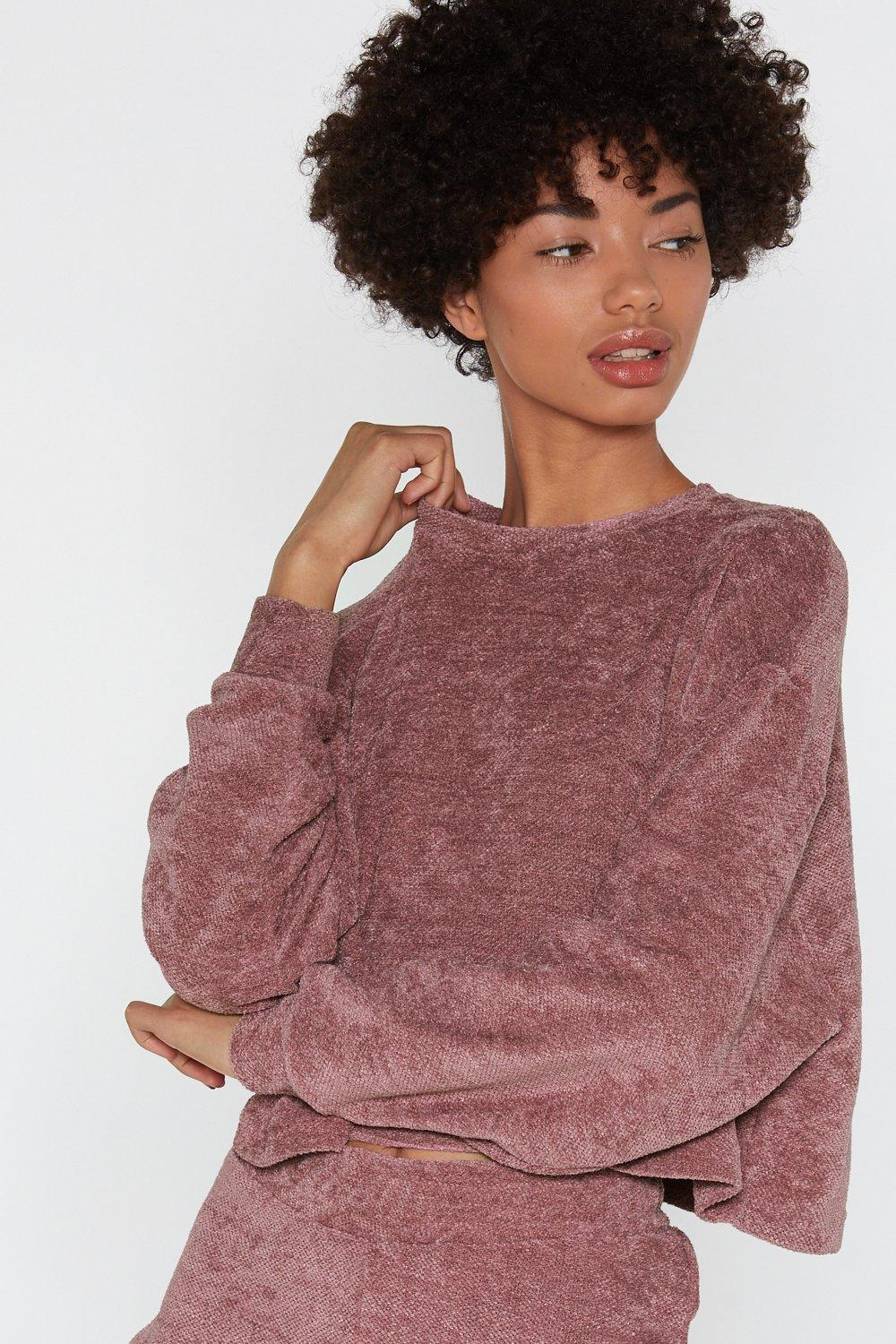 cfe02c50736 Womens Mink Chenille Out Relaxed Lounge Sweater.