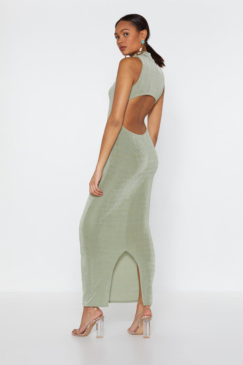 2f57afa0b4c Womens Sage Maxi Backless High Neck Dress. Hover to zoom
