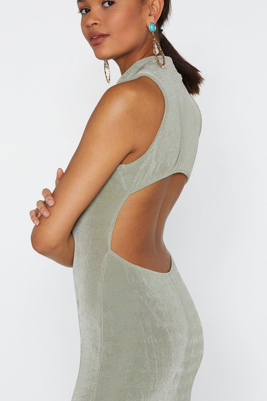 f685d401a24 Robe longue à col montant ouverte dans le dos