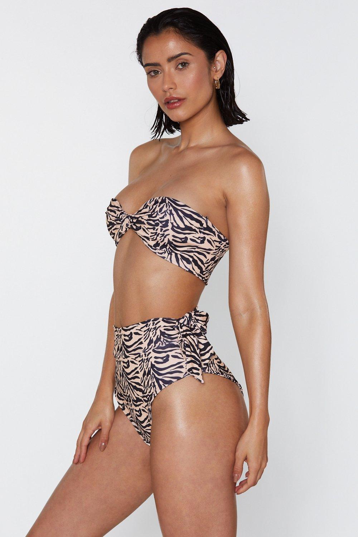Running Free Zebra Bandeau Bikini Set