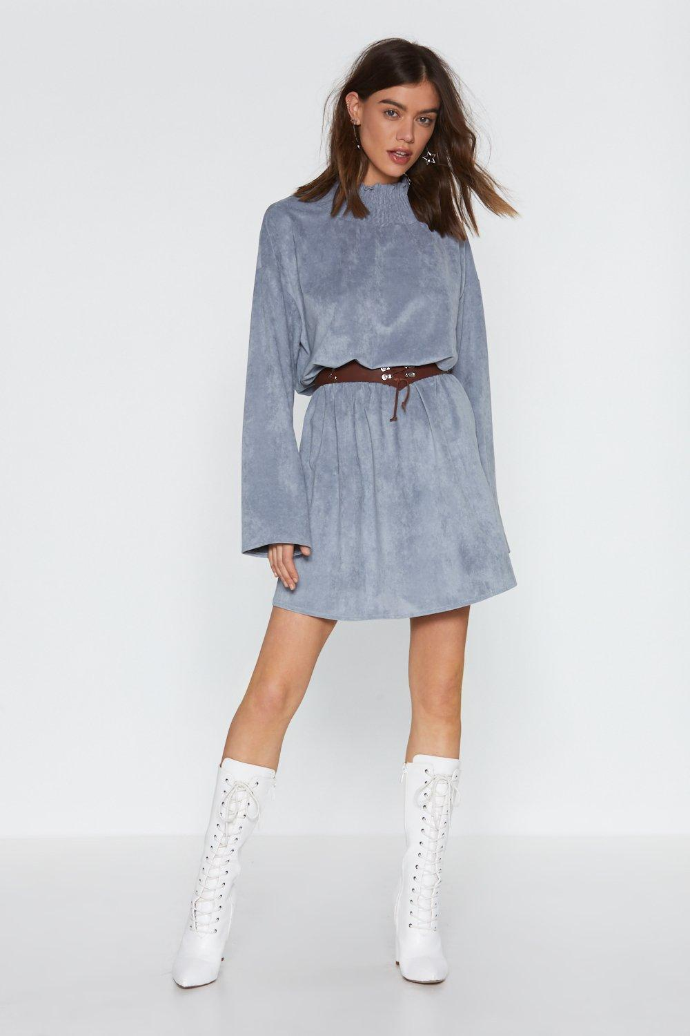 Keep A Secret Faux Suede Mini Dress by Nasty Gal