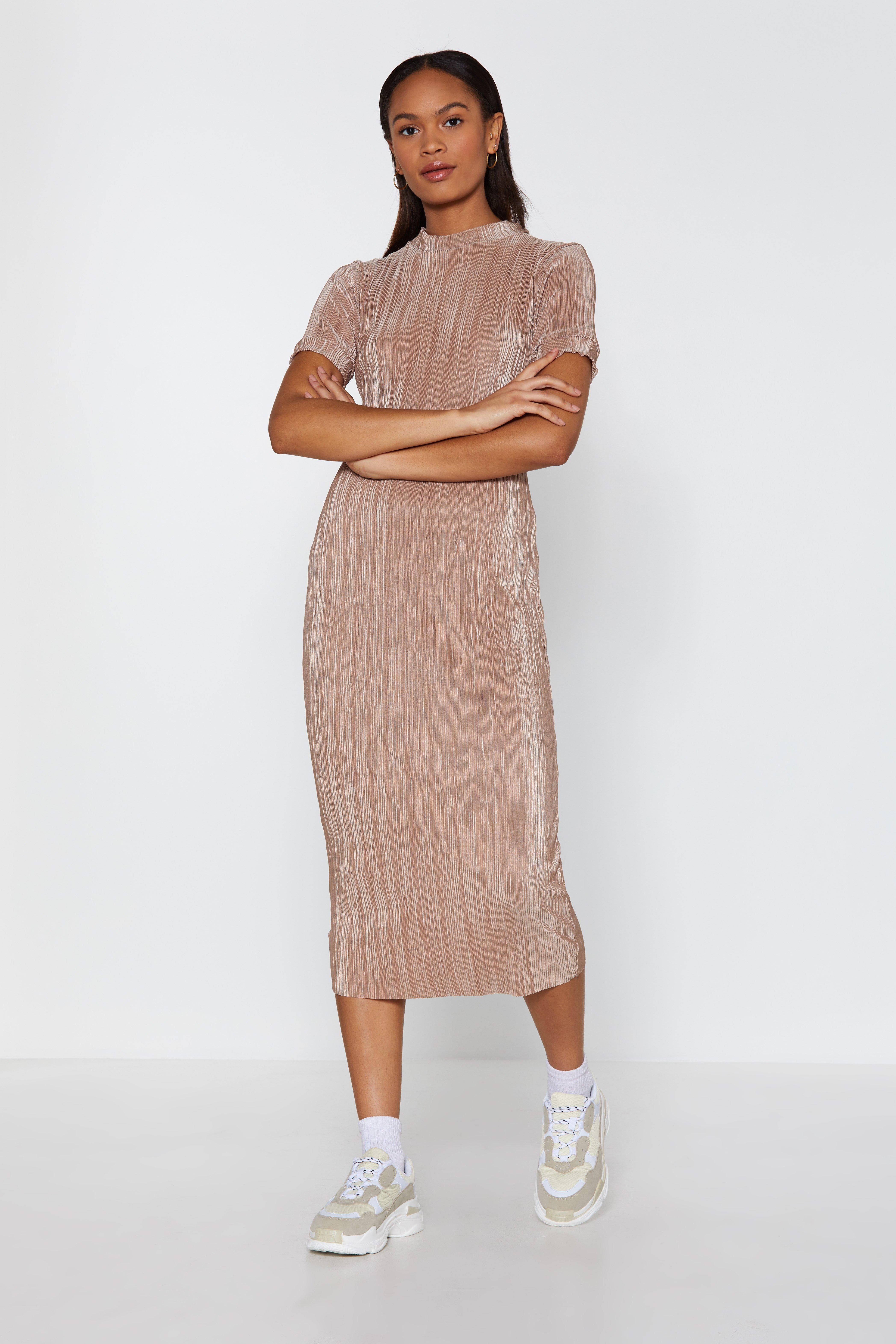 Plissé Yourself Midi Dress by Nasty Gal