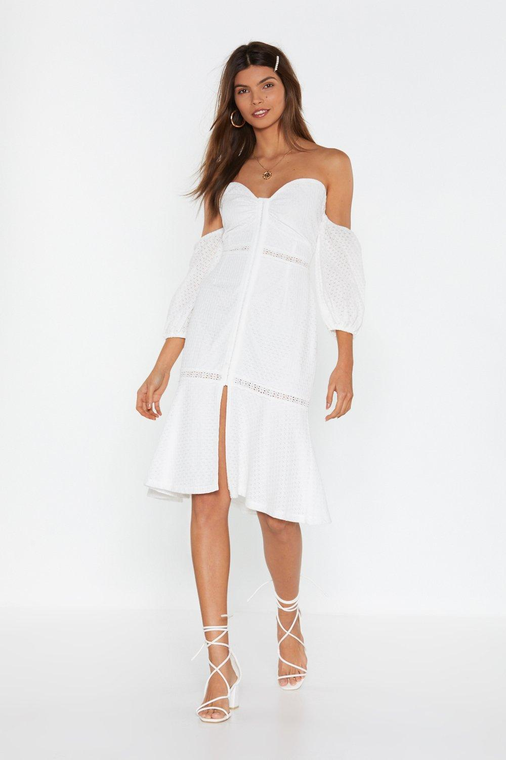 a0c2907c005 Well Thread Off-the-Shoulder Broderie Dress | Shop Clothes at Nasty Gal!