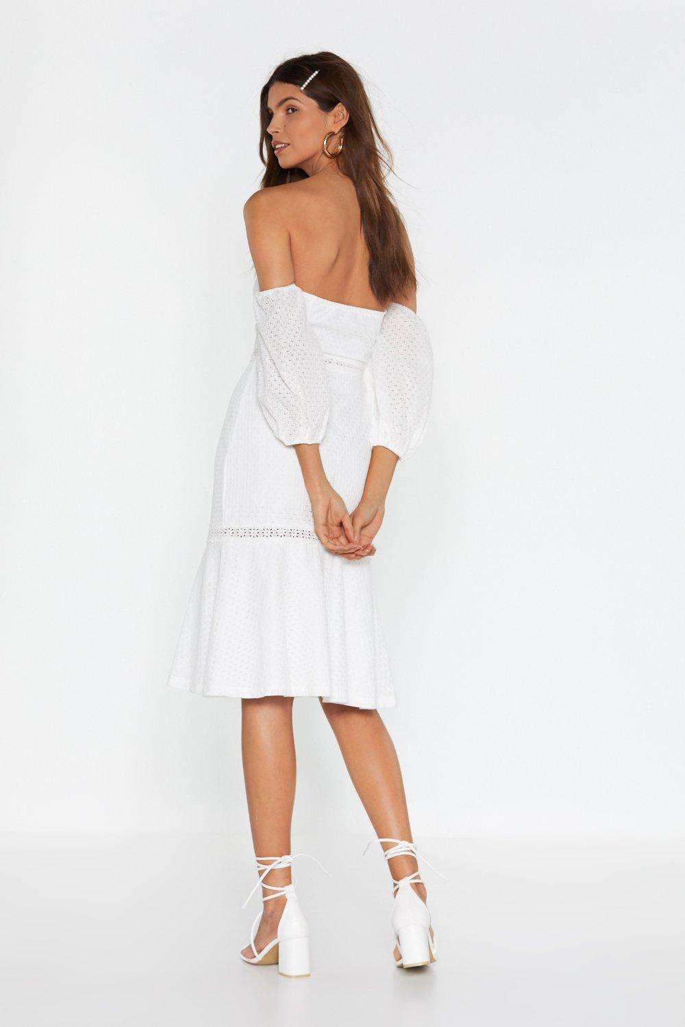 bcf5a2deafe1 Well Thread Off-the-Shoulder Broderie Dress | Shop Clothes at Nasty Gal!