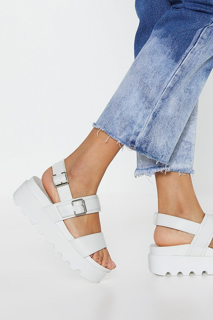 Work Your Way Up Faux Leather Platform Sandals | Nasty Gal
