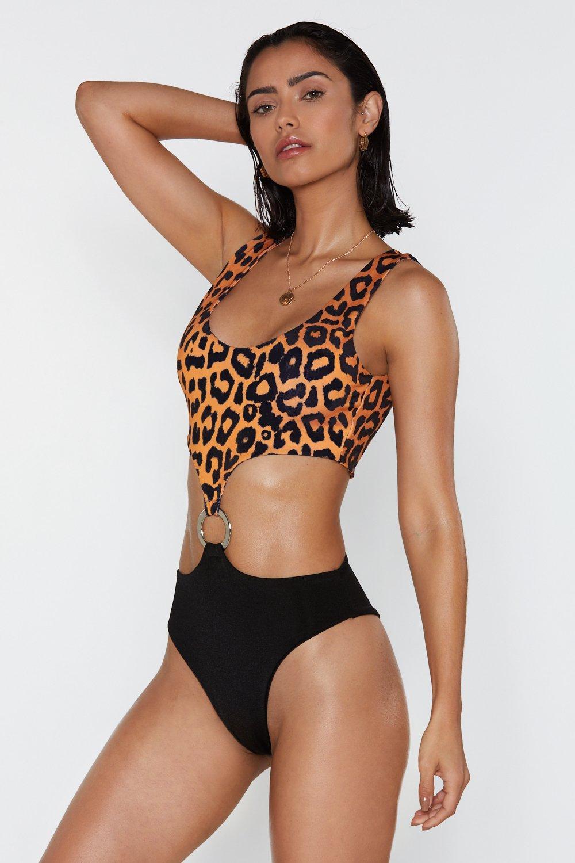 9a05c61fc Womens Orange O-ring Your Praises Leopard High-Leg Swimsuit
