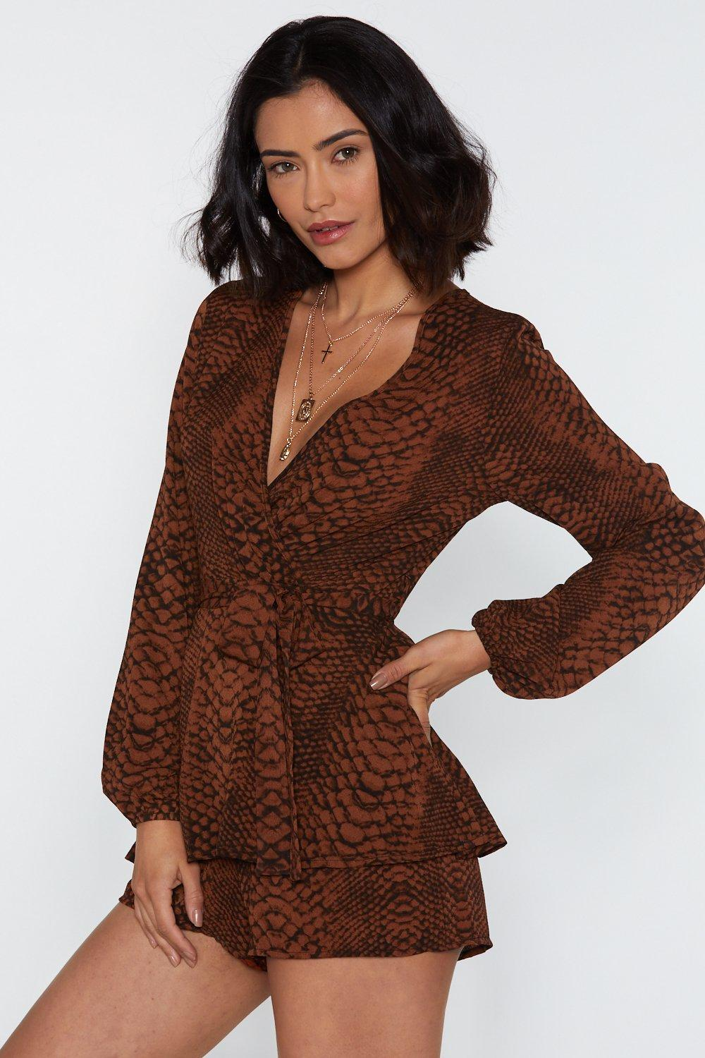 484461535bd8 Snake Double Layer Playsuit. Hover to zoom
