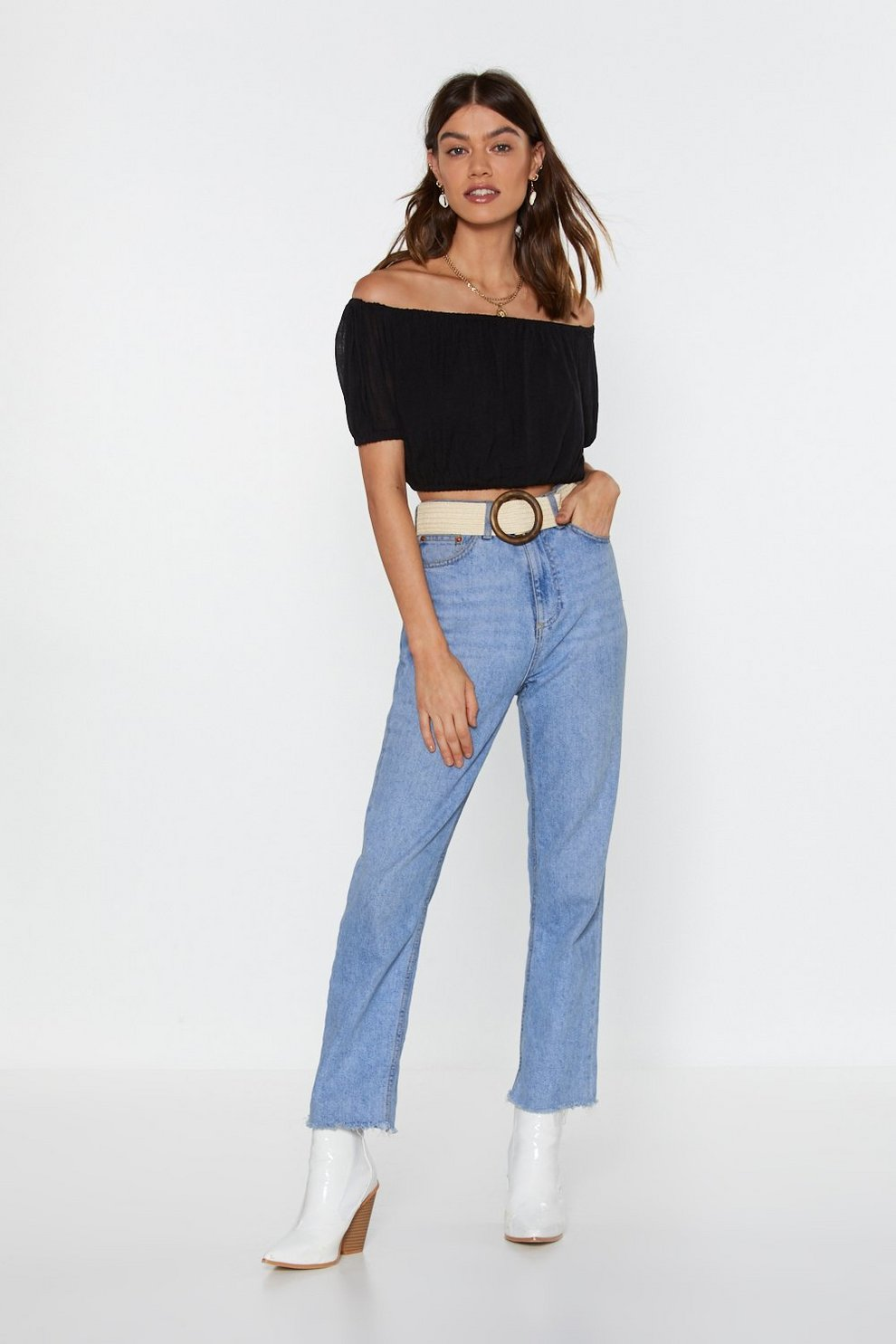 1796a10975432 Cheesecloth Bardot Crop Top