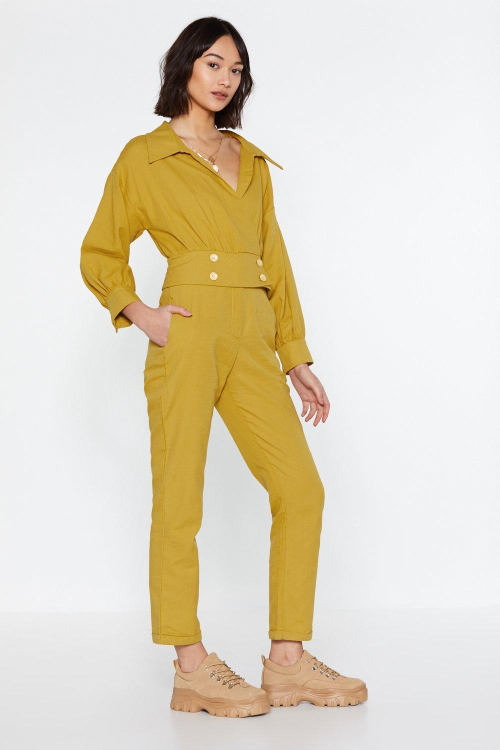 4b8b44a6b36 Womens Gold Under Wraps Button Jumpsuit