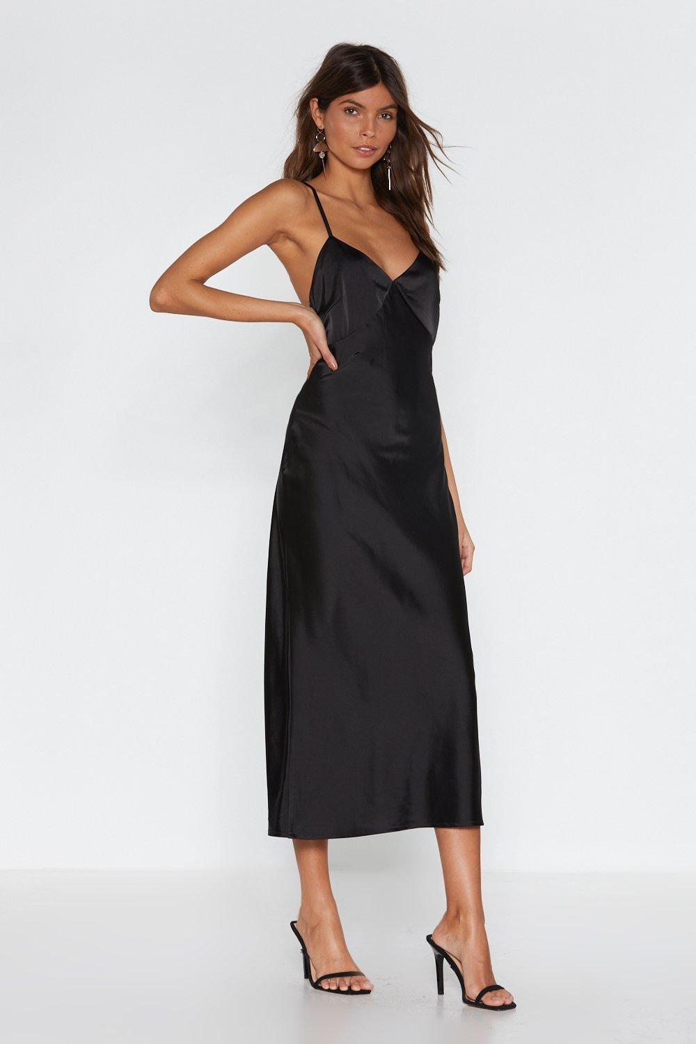 Satin midi dress black