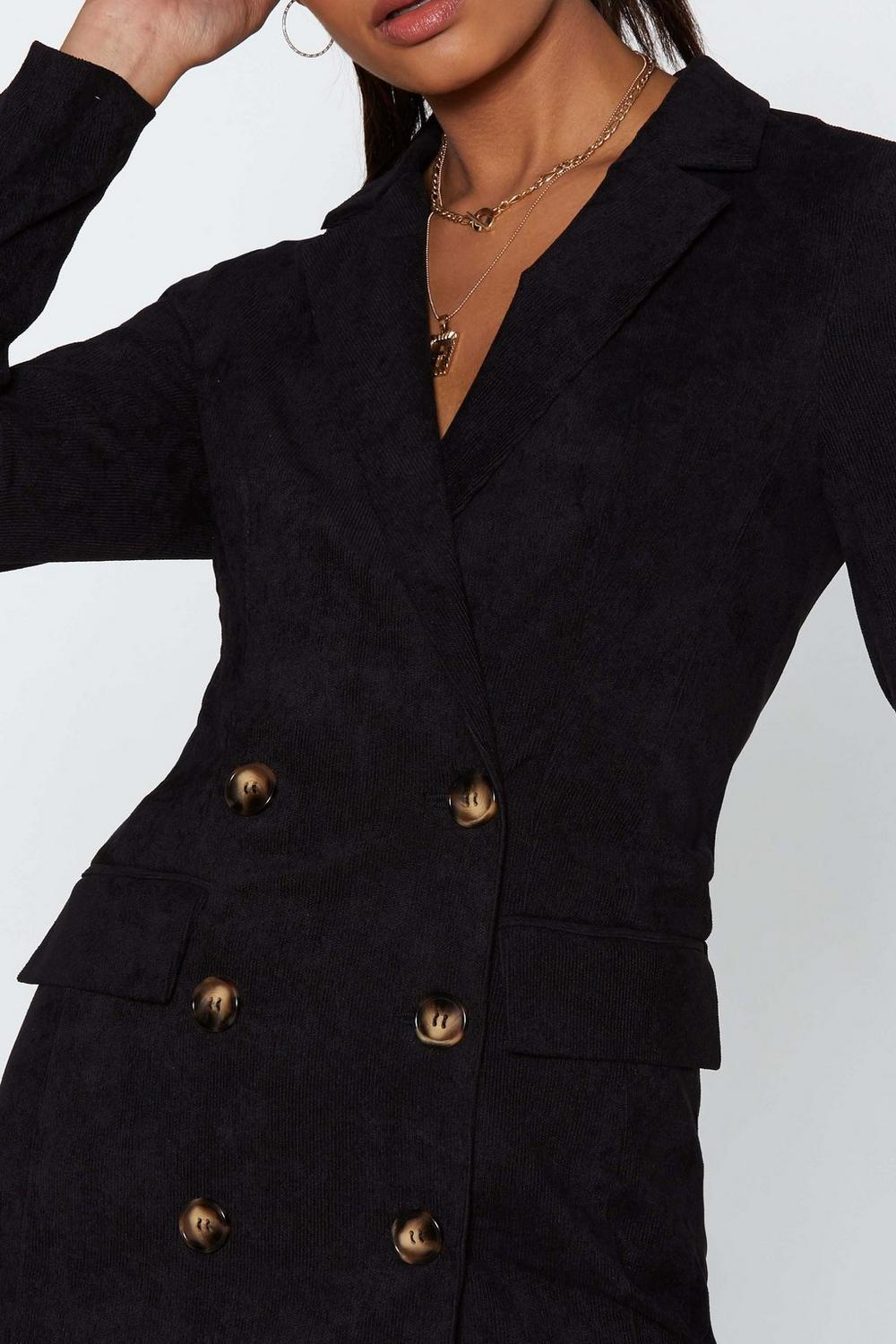 fd4bc47932c Womens Black This Suits Me Just Fine Corduroy Blazer Dress. Hover to zoom
