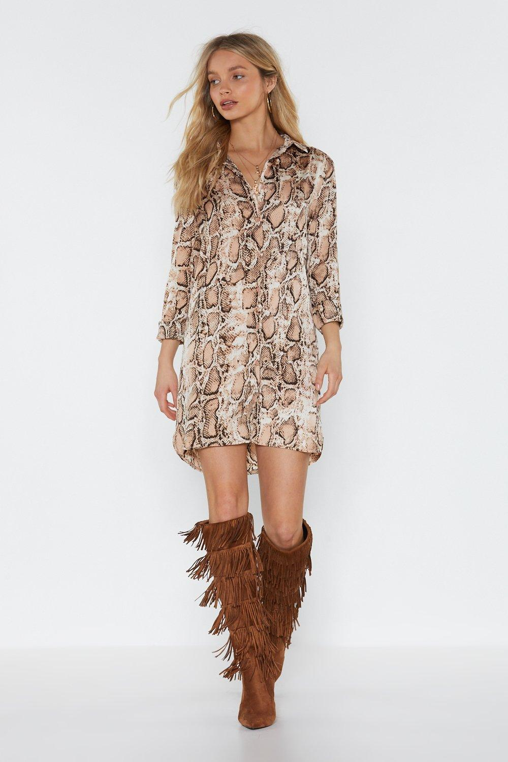 0871c7104a2 Womens Nude Snake the High Road Mini Shirt Dress. Click to expand