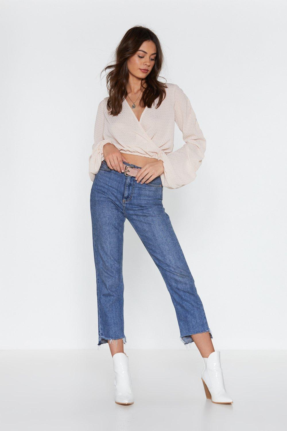 3233653c652ae Take a Wrap Ruched Cropped Blouse
