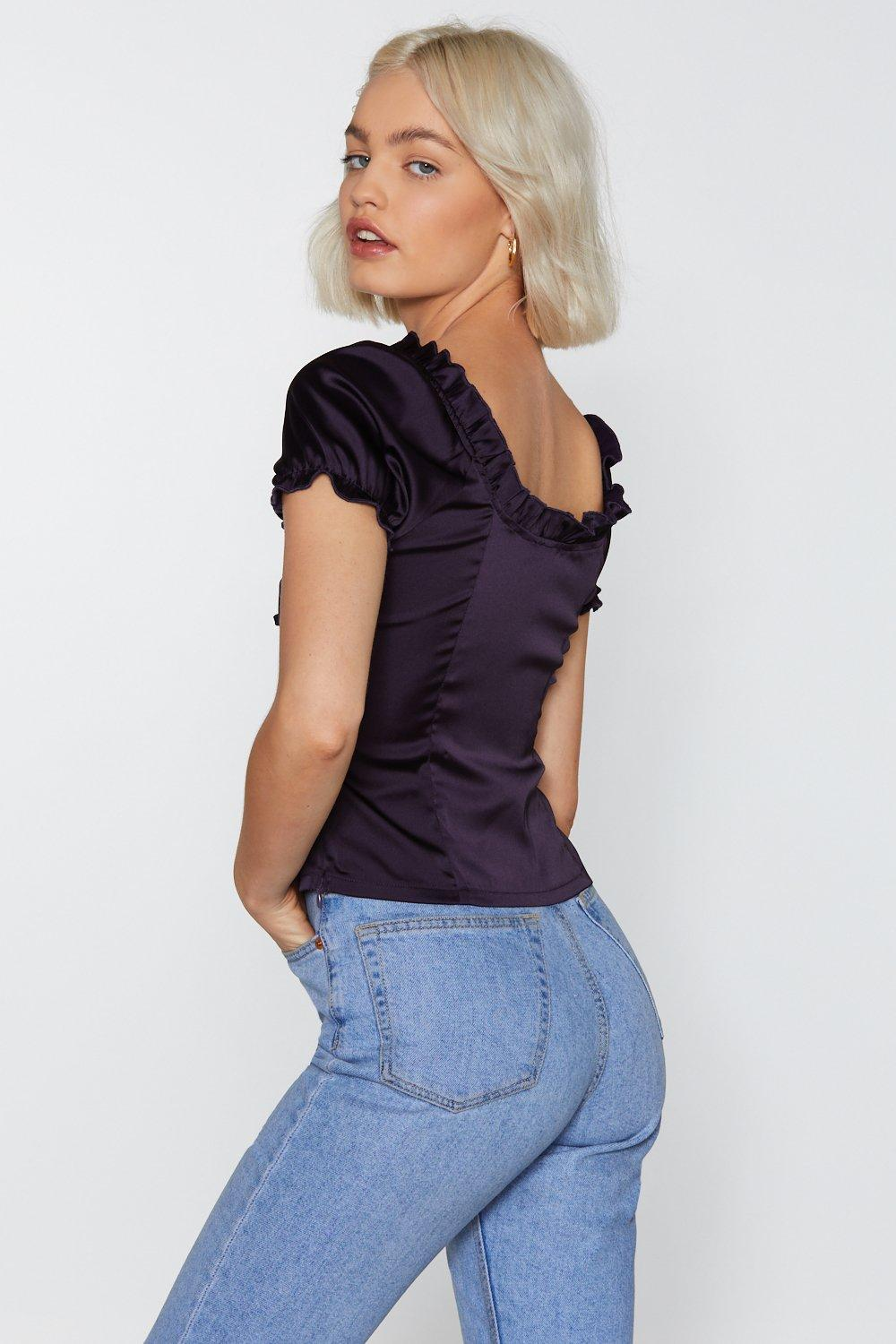 Find It Satin Your Heart Lace-Up Top  574969b87