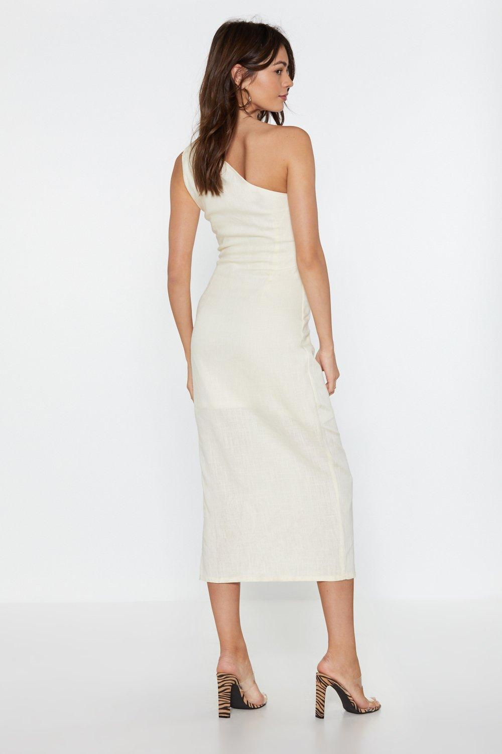 90067cd9b7 Lay It on the Linen One Shoulder Dress