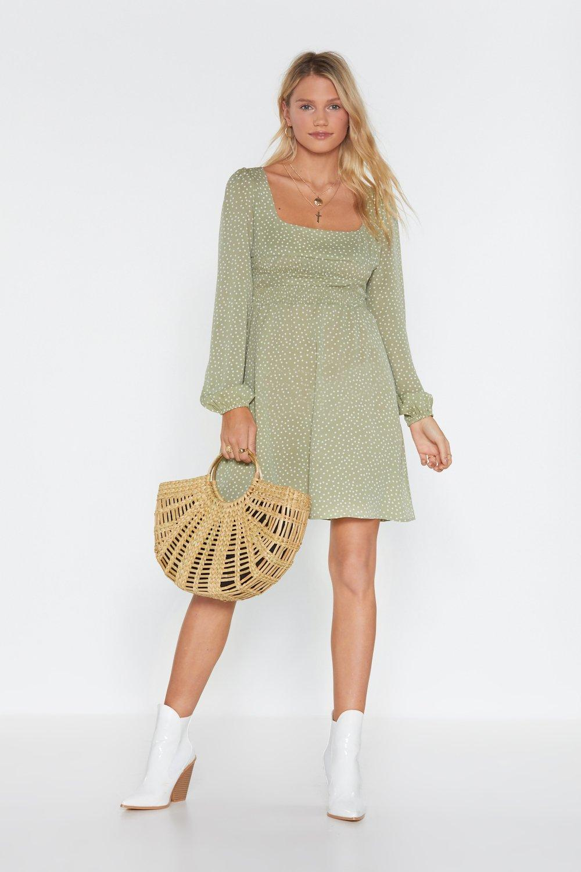 20be46718647 Womens Sage Connect the Dots Polka Dot Shirred Dress