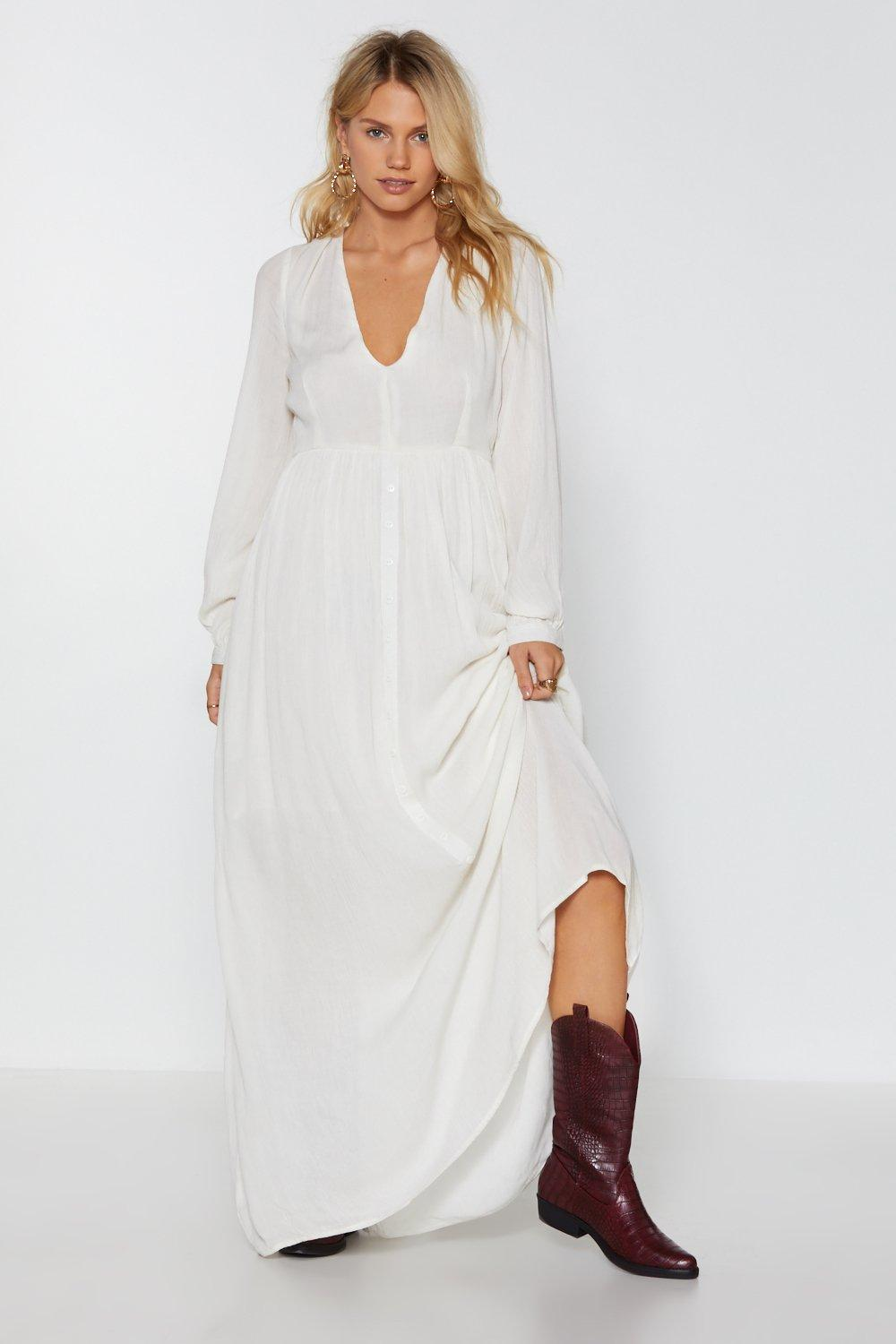 33c65253714 Womens Cream Sweep Me Off My Feet Button-Down Maxi Dress