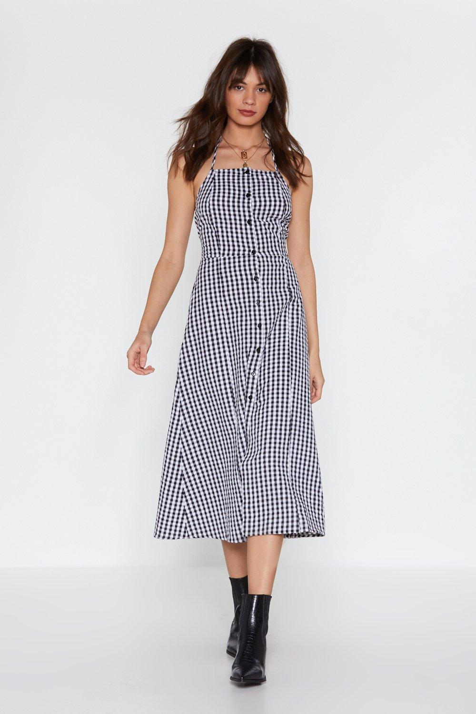1fc378e43051 Hang in Square Gingham Halter Dress