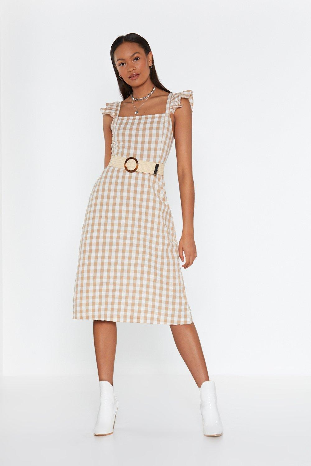 3fb42707f5d Womens Toffee Frill Detail Maxi Dress In Cotton Gingham. Hover to zoom