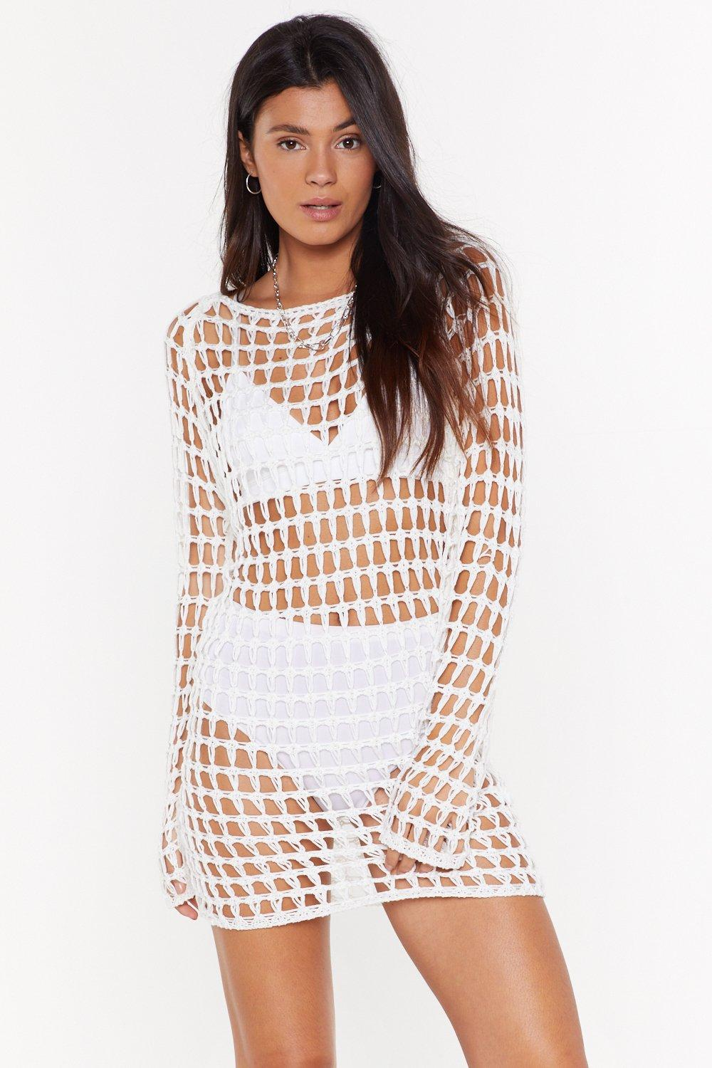 Hole With The Punches Crochet Mini Dress Shop Clothes At Nasty Gal