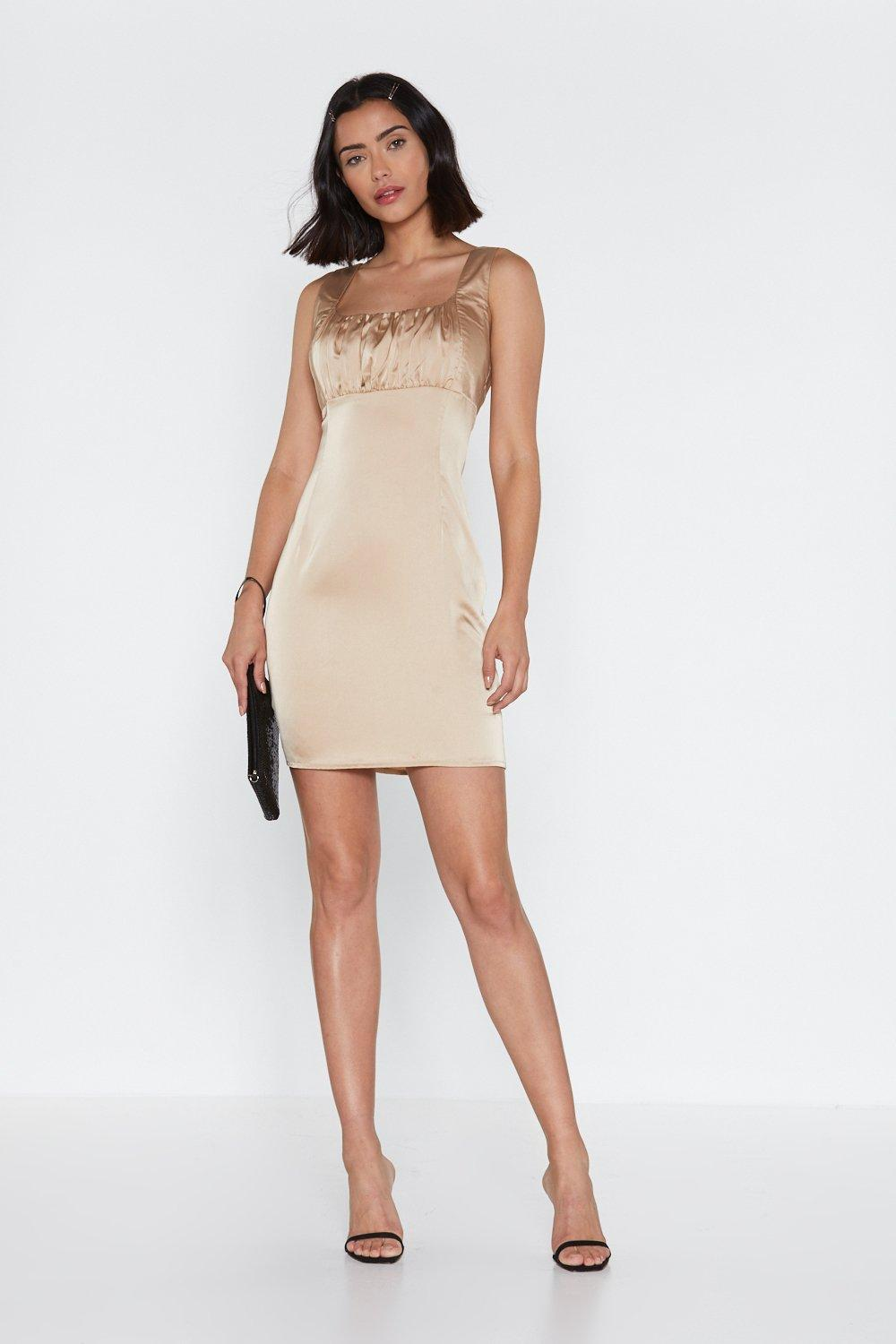 47cca41231 Womens Champagne Tonight Ruched Mini Dress