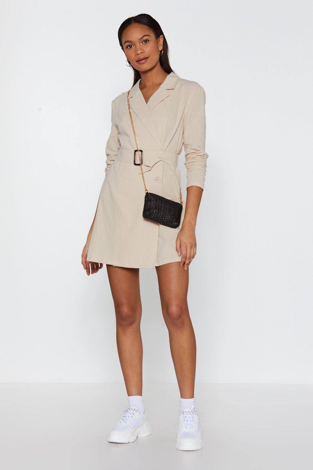 ae8bb74883a6 Draw the Linen Belted Blazer Dress   Shop Clothes at Nasty Gal!
