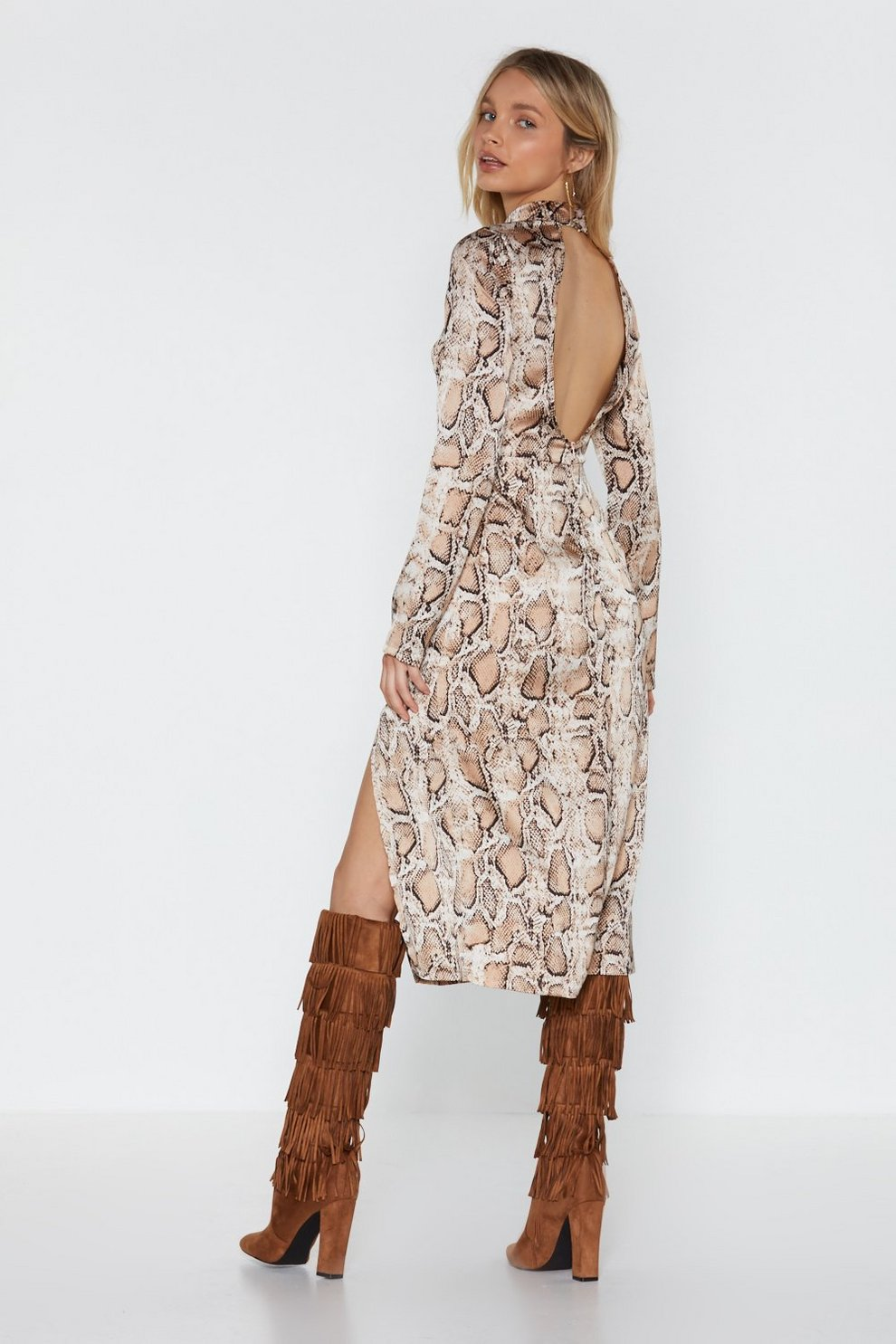 3d5863fb00a Hover to zoom · Womens Natural Snake the High Road Midi Slit Dress