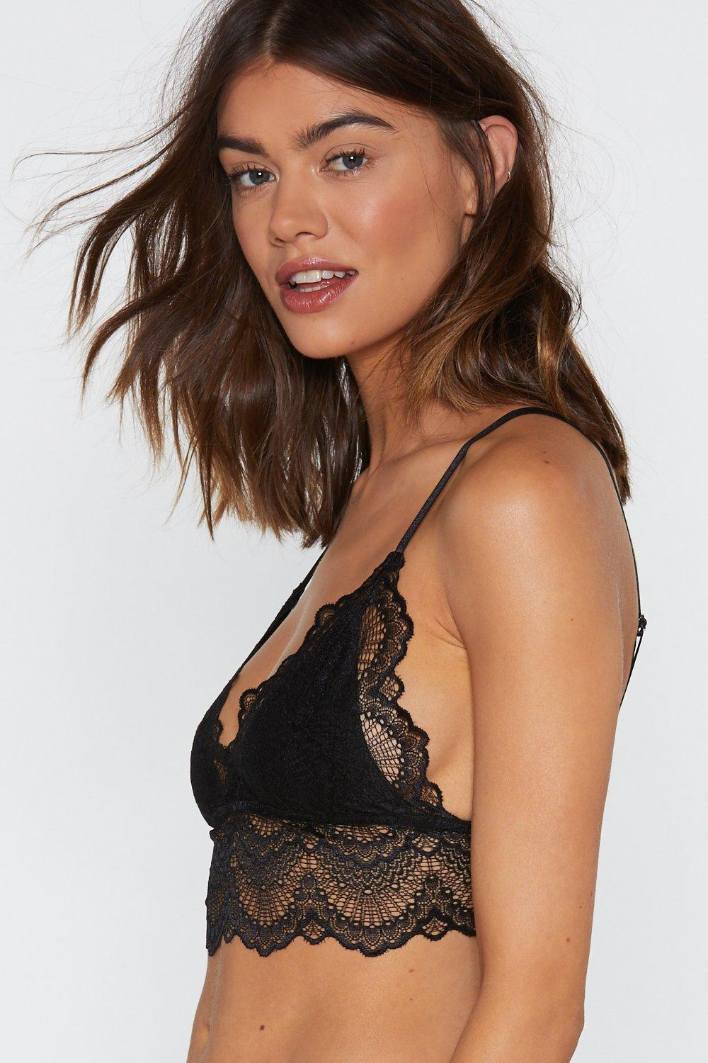 640179de15a Black Scallop Lace Longline Bralette and Panty Set. Hover to zoom
