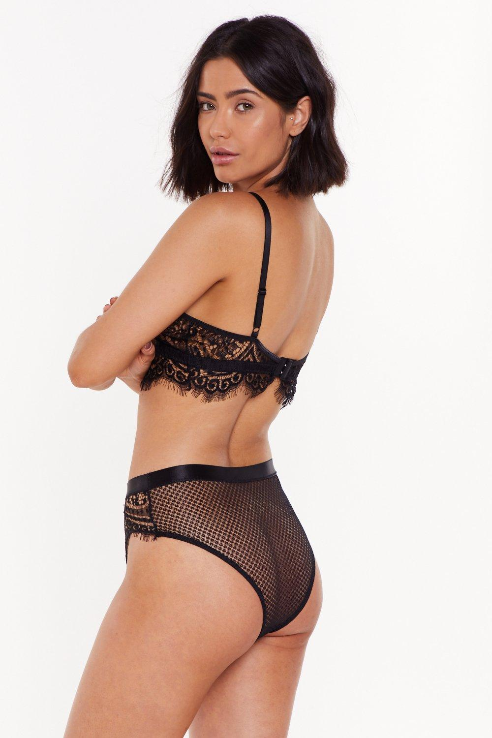 0623f7619f4 Womens Black God is a Woman Strappy Lace Bralette and Panty Set.