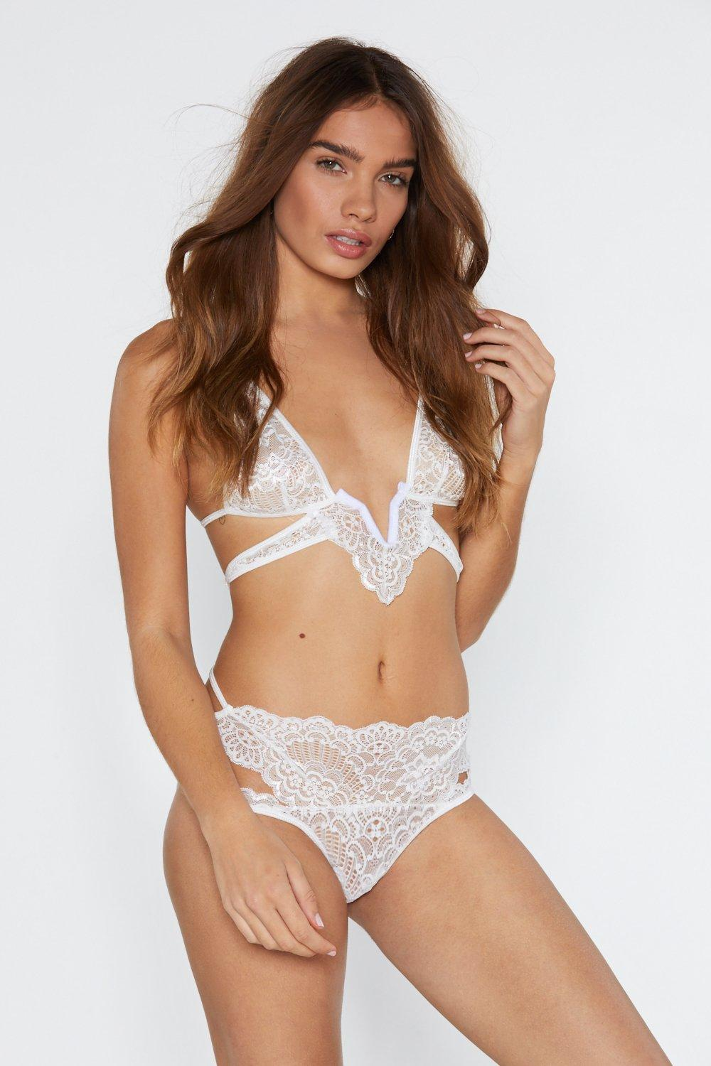 Lace In Point Strappy Bralette And Panty Set by Nasty Gal