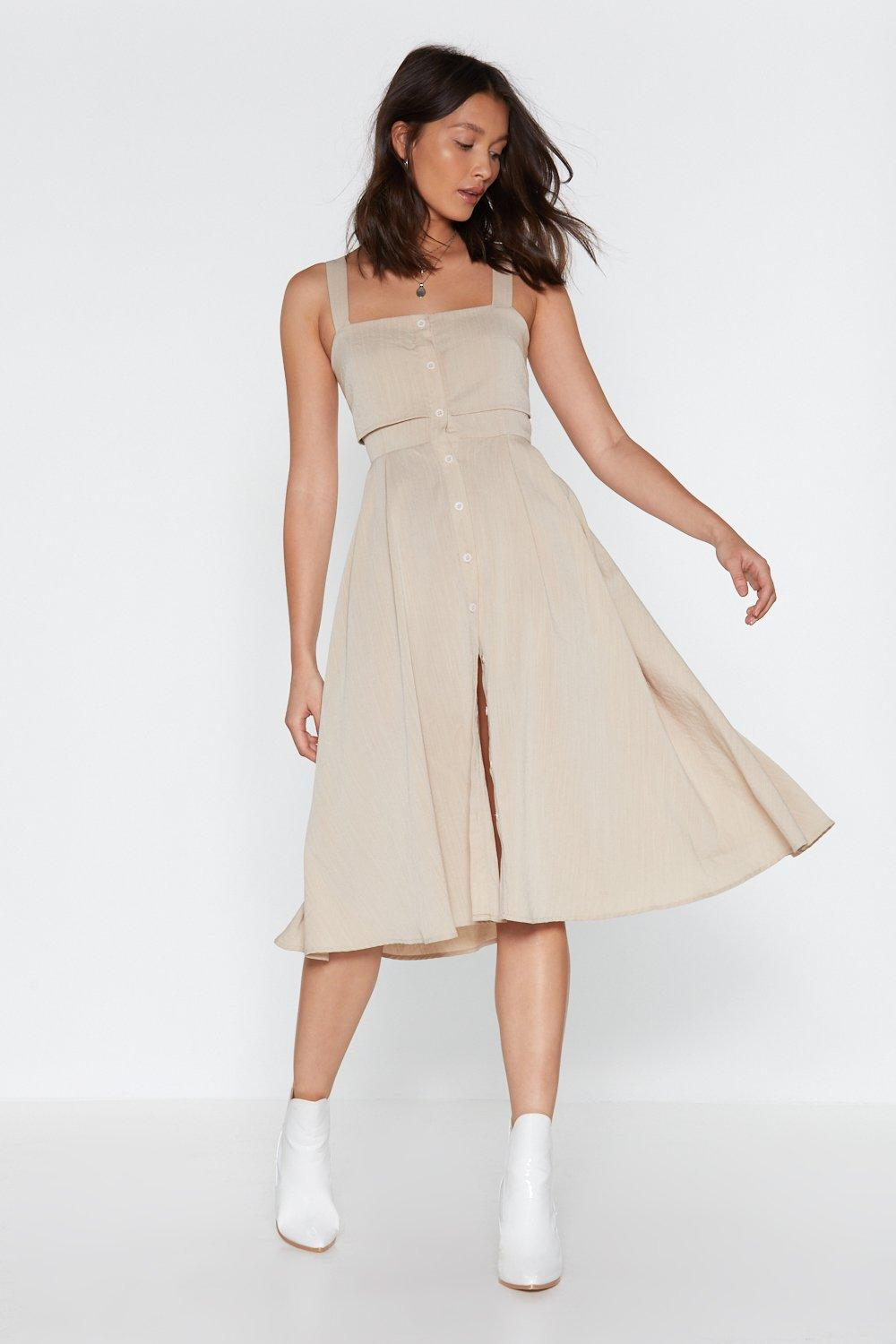 45b28ad3c2ef Button the Lookout Square Neck Midi Dress | Shop Clothes at Nasty Gal!