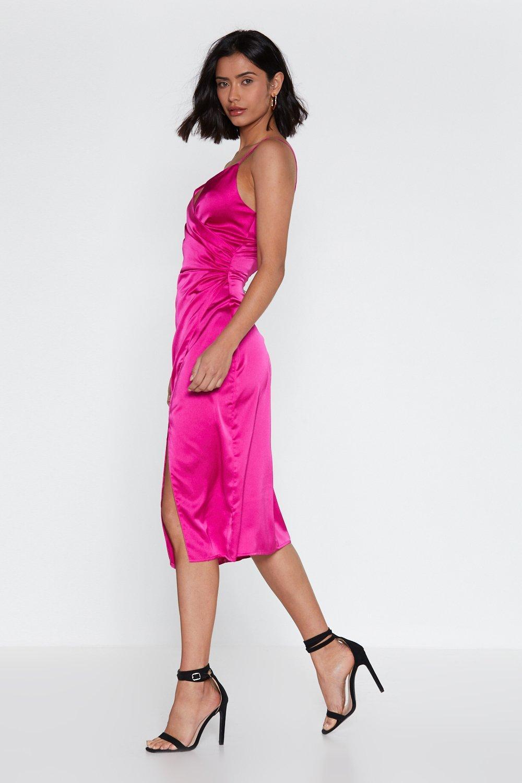 2031674cf83f Hey Babe Wrap Satin Dress