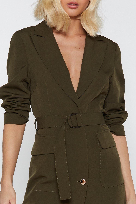 e993d0da3ad Womens Khaki Ring Pull Belted Mini Blazer Dress. Hover to zoom