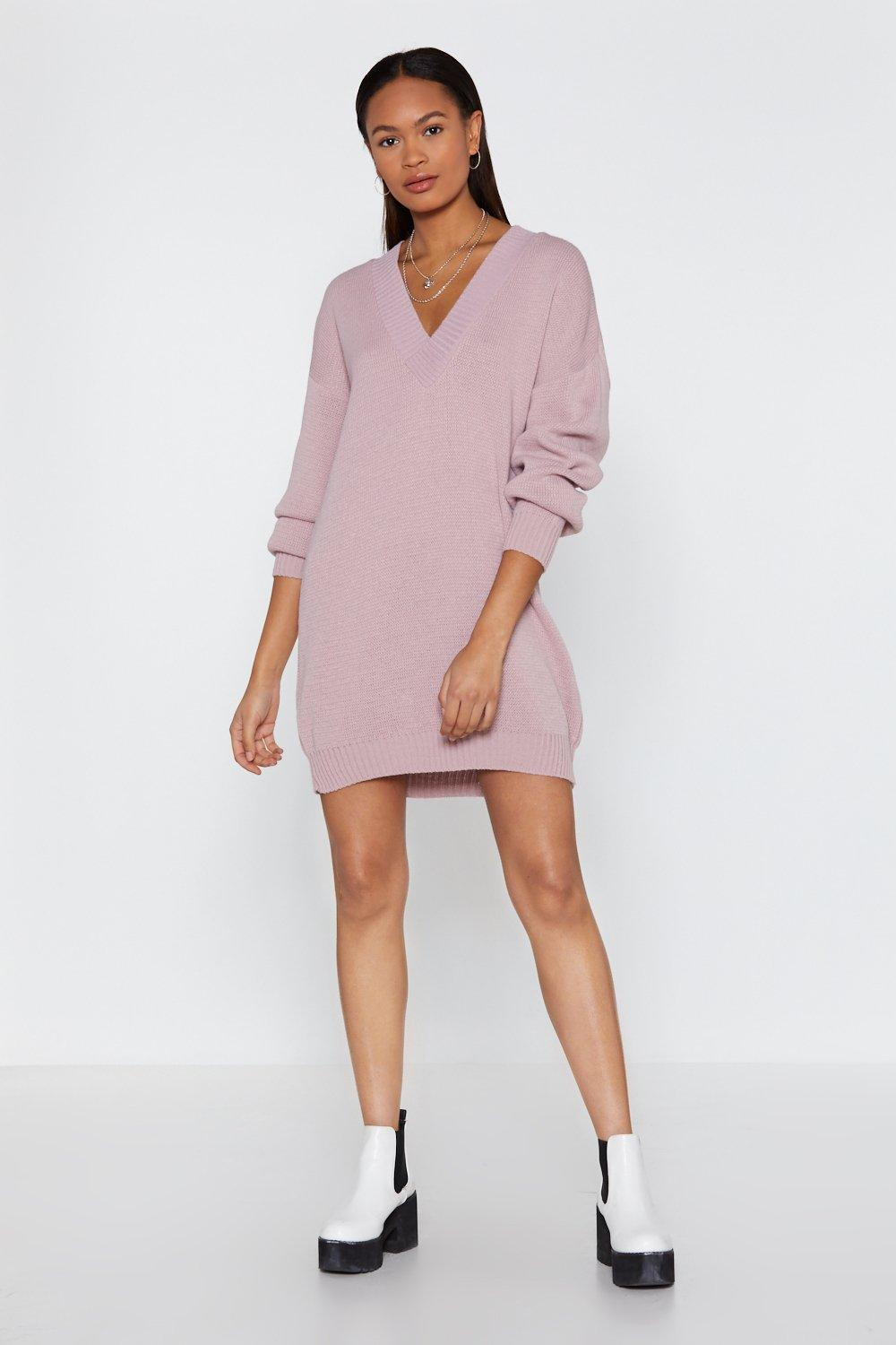 fd10257d4e9 Hover to zoom · Womens Lilac V Good Oversized Sweater Dress