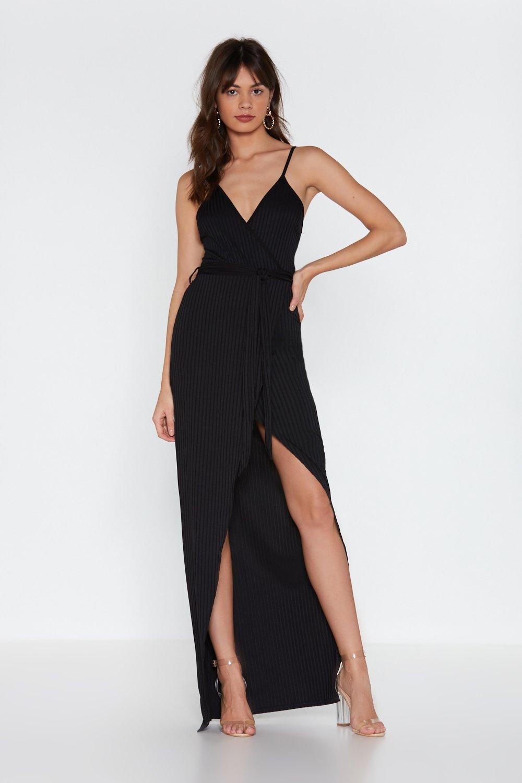 a0161a8f0cb Womens Black Stretch Your Legs Ribbed Maxi Dress