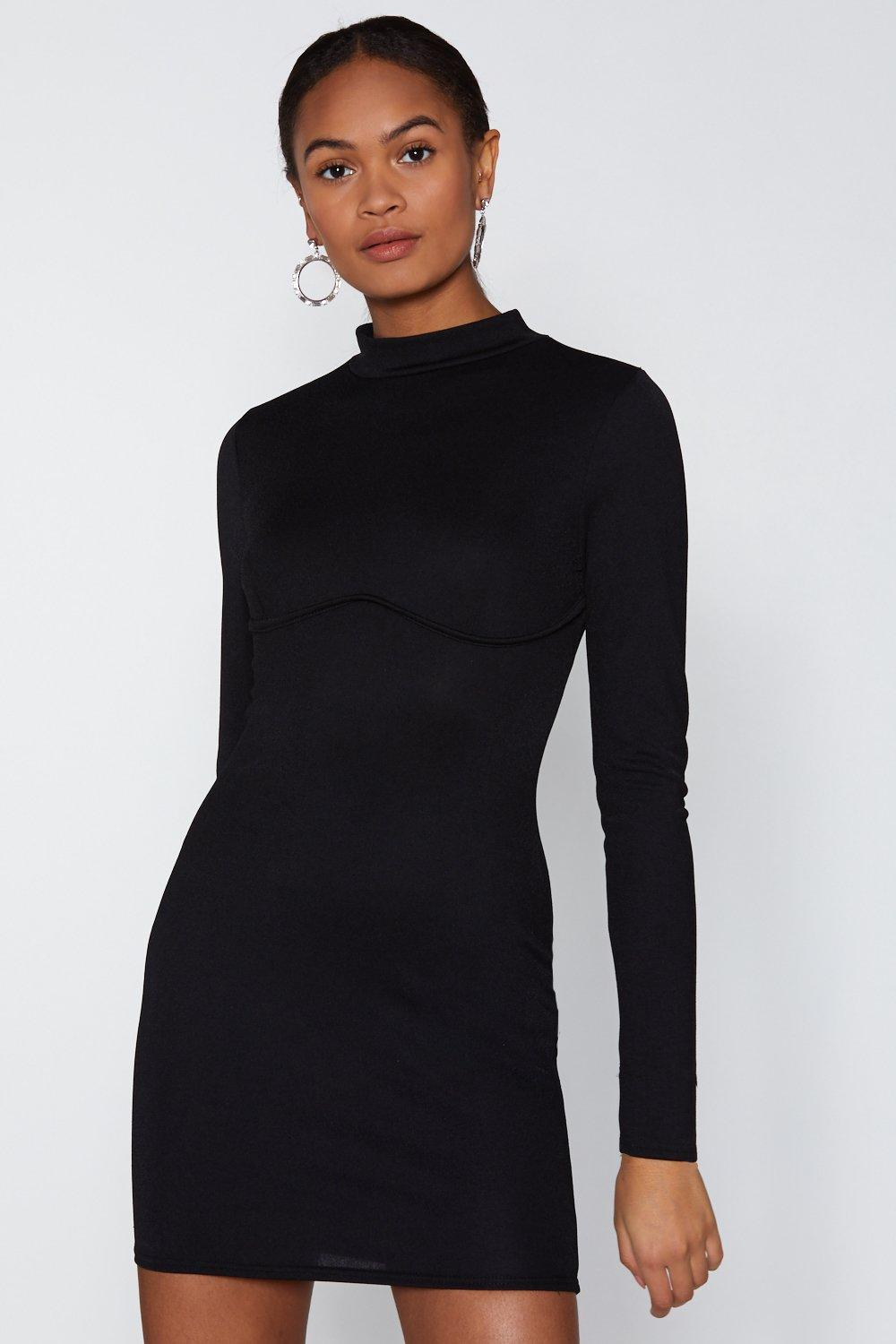 141f77b42 Womens Black Back Me C-up High Neck Dress. Hover to zoom