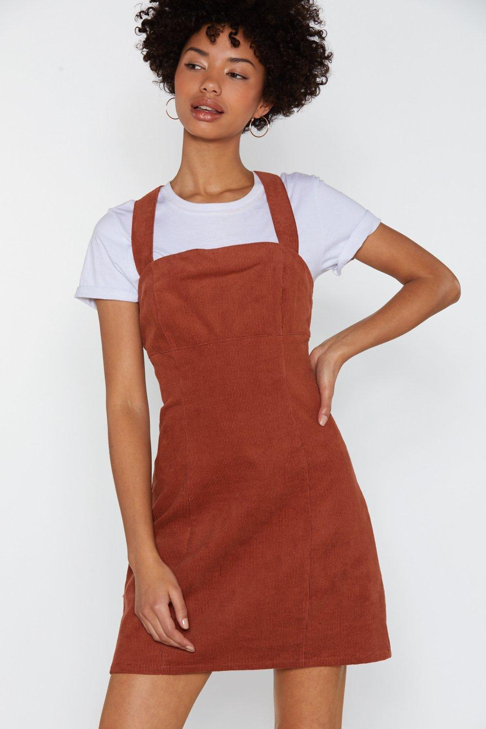 2c255e3e0c6 Womens Rust Play Date Corduroy Pinafore Dress. Hover to zoom