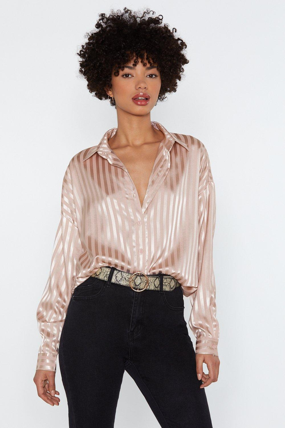 Out Of Line Satin Shirt by Nasty Gal