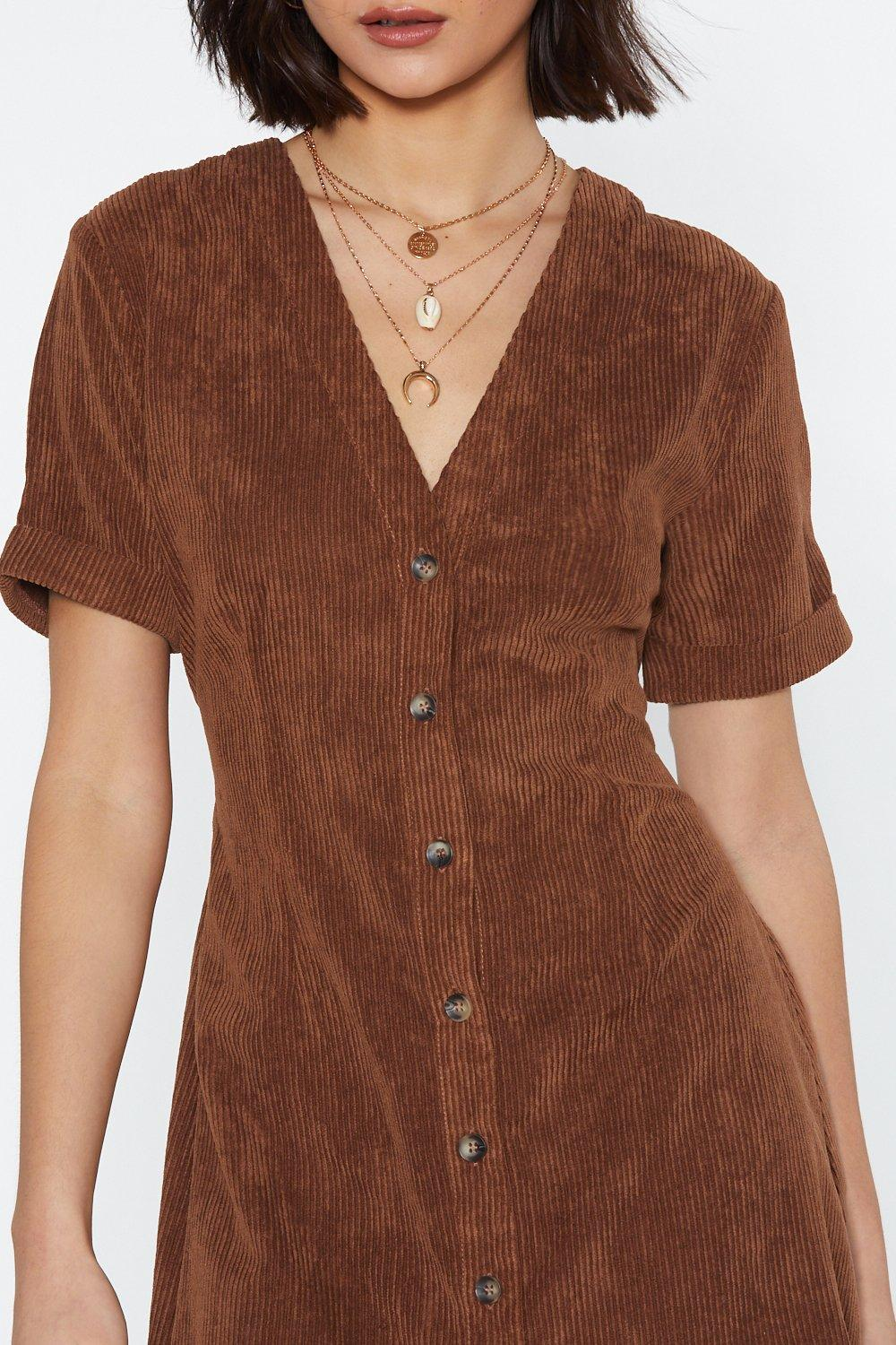 eb4e7f66a96 Womens Tan Button Cloud Nine Corduroy Dress.