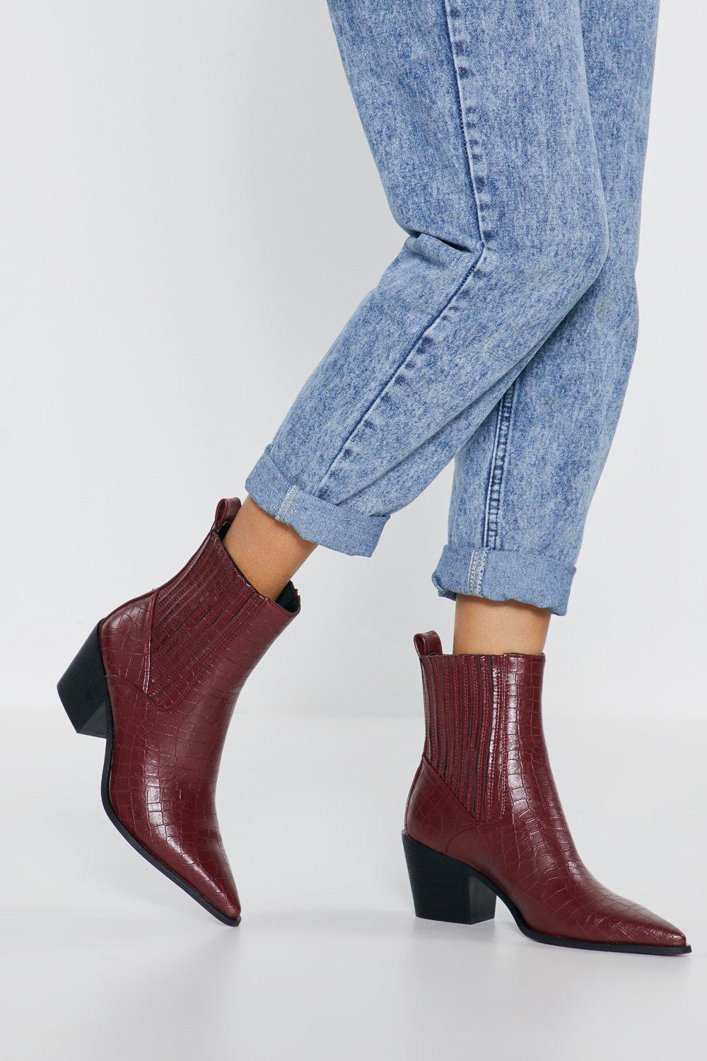 30dbd1e7f44 Run Off Your Feet Croc Faux Leather Boots | Shop Clothes at Nasty Gal!