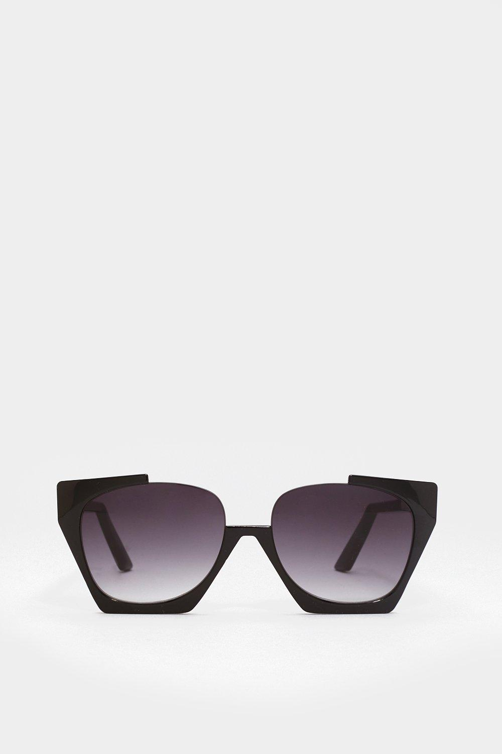 20b5eaa0b Womens Black Without a Shadow of a Cut-Out Oversized Sunglasses. Hover to  zoom