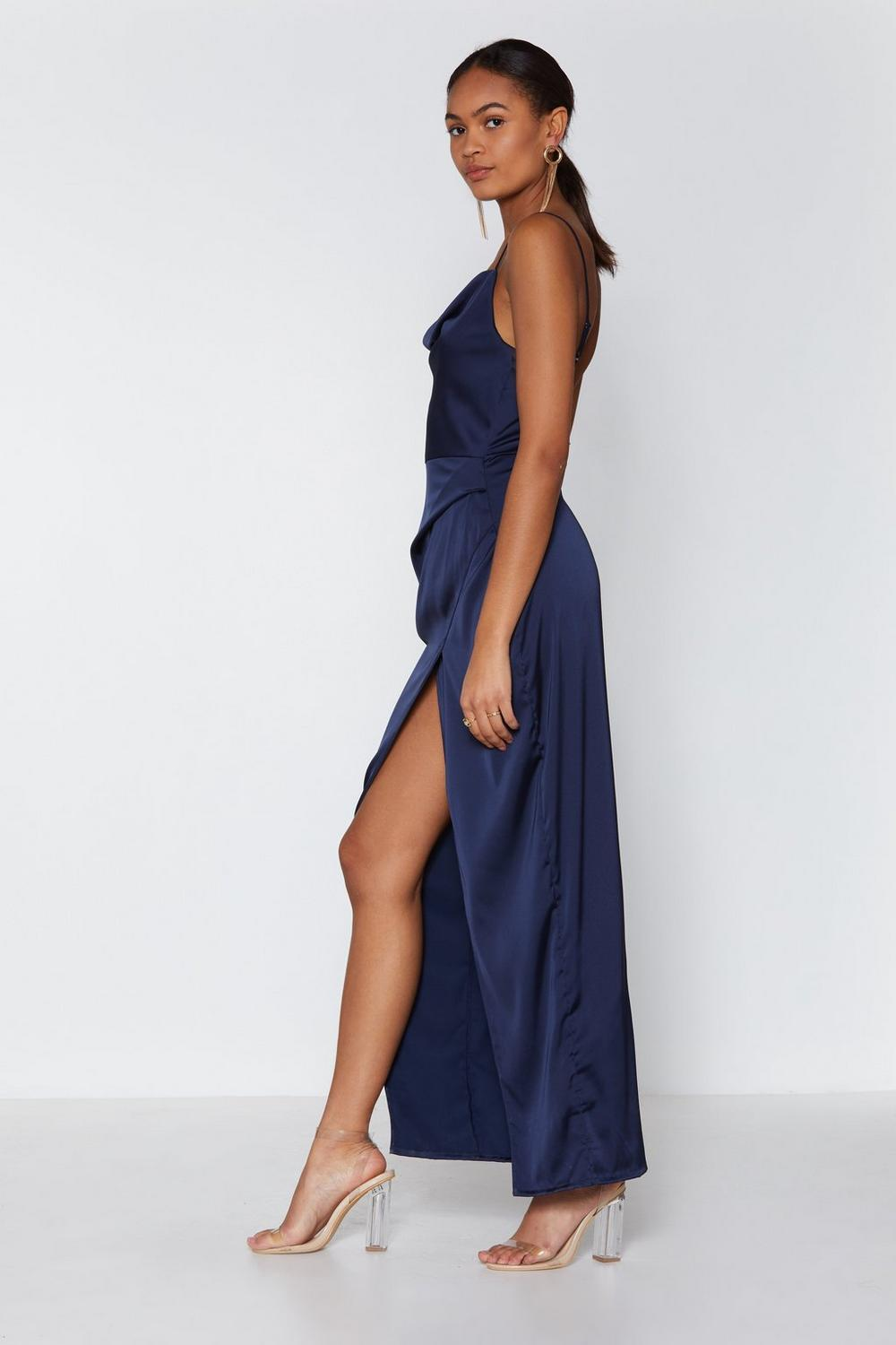 39496934dbe Womens Navy Cowl Play Satin Dress. Hover to zoom