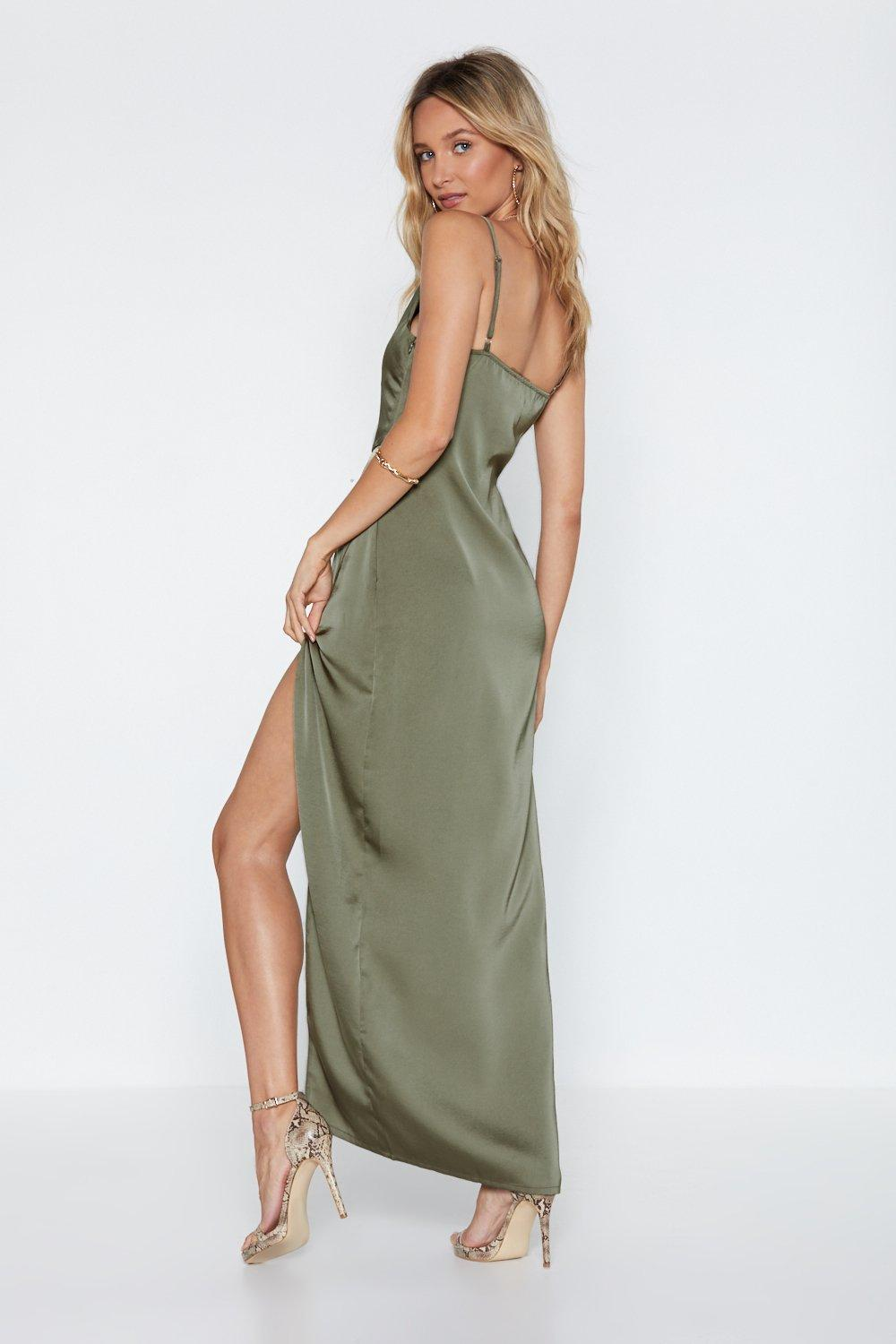 7cace63cbb8 Womens Sage Cowl Play Satin Dress. Hover to zoom