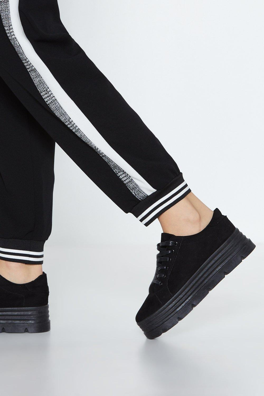 Have The Lace Laugh Faux Suede Sneaker by Nasty Gal