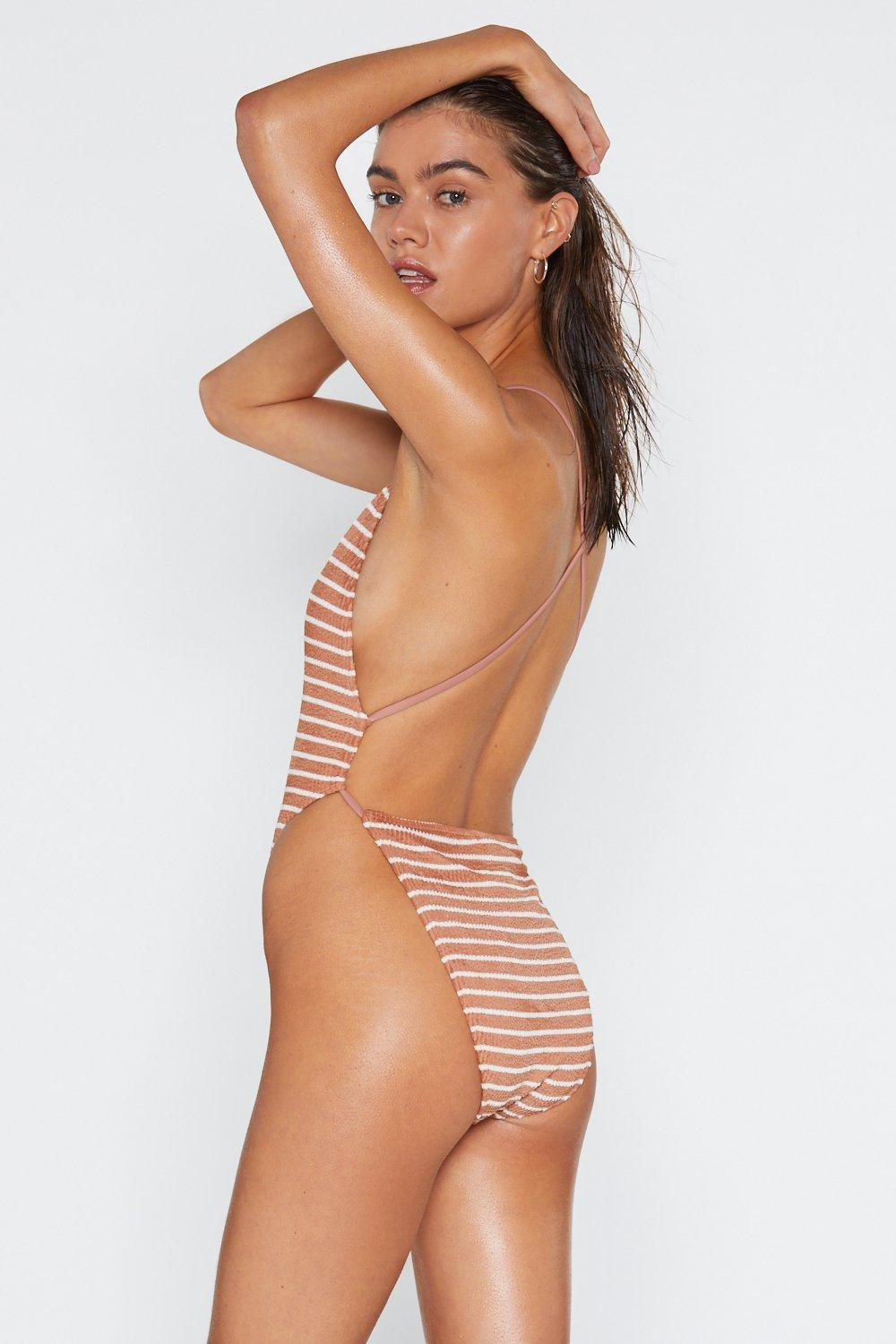 99fc04d519 The Great Escape Striped Crinkle Swimsuit