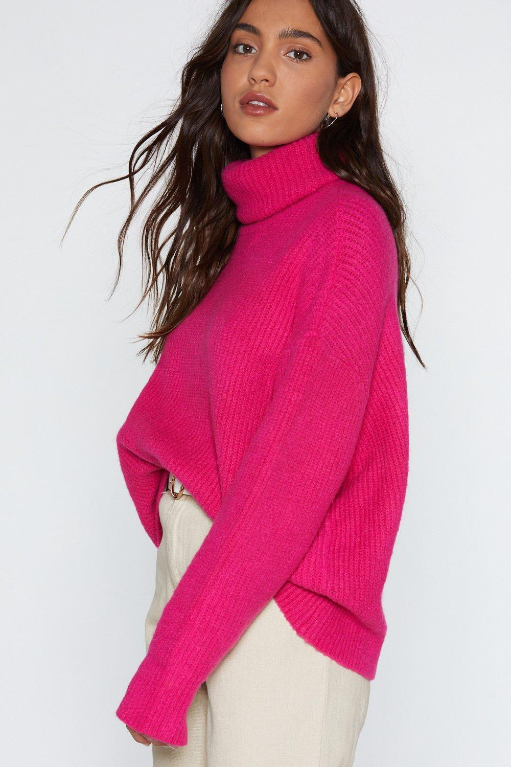 84a3231bdc Womens Pink Don t Mention Knit Turtleneck Sweater